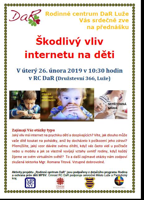 Škodlivý vliv internetu na děti